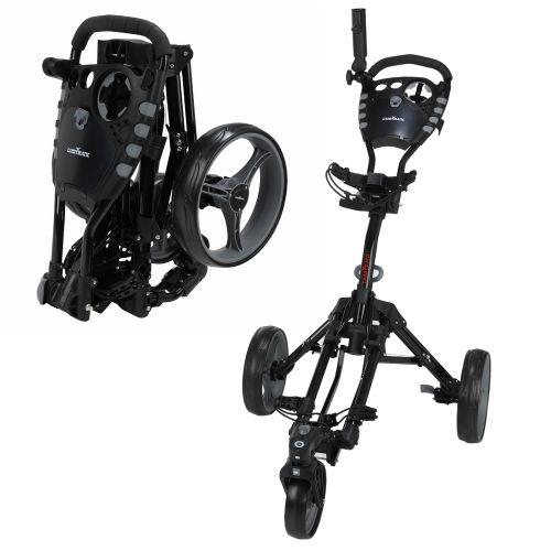 Caddymatic Golf 360° SwivelEase 3 Wheel Folding Golf Trolley Black,,