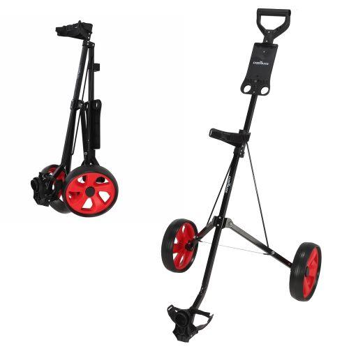 Caddymatic i-Trac 2 Wheel Folding Golf Trolley Black/Red,,,