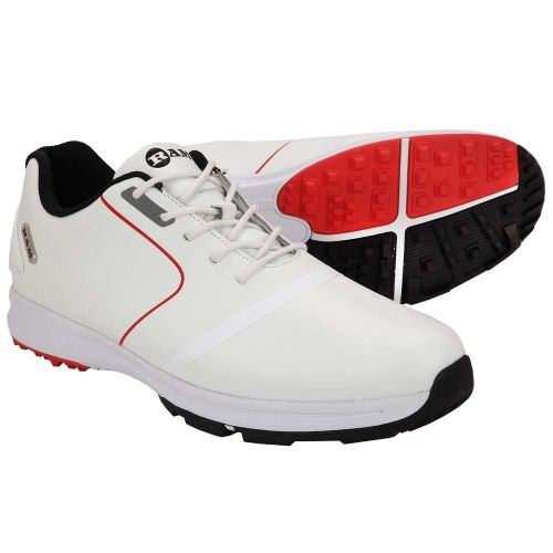 Ram Golf Player Waterproof Mens Golf Shoes - White / Red