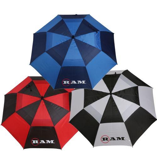 """Ram Golf Umbrellas 3 Pack - Premium 60"""" Double Canopy Golf Umbrellas - Blue, Red, Black/White"""