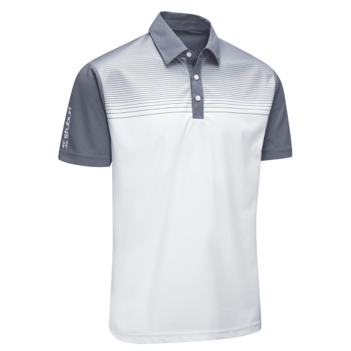 Stuburt Endurance Faded Stripe Polo Shirt White Grey
