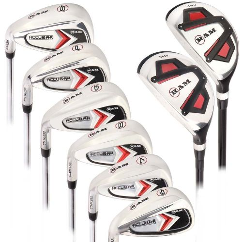 Ram Golf Accubar Mens Clubs Iron Set 6-7-8-9-PW-SW with Hybrids 24° and 27° - Lefty