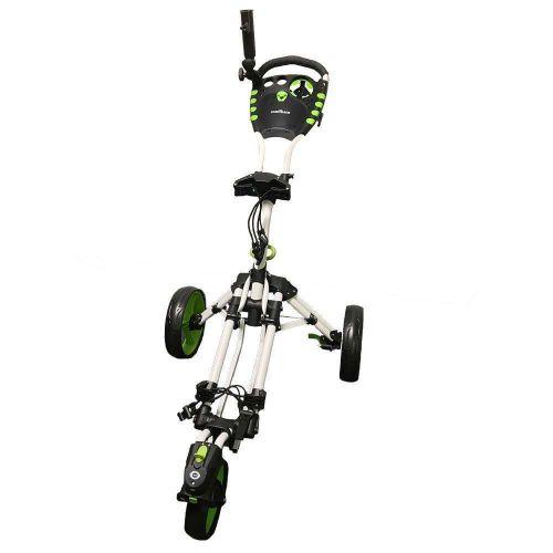 Caddymatic Golf 360° SwivelEase 3 Wheel Folding Golf Trolley White/Green