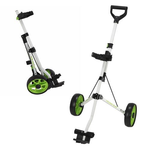 Young Gun Kids Adjustable Golf Trolley for Junior Golfers 3-14 Years Old White/Green,,